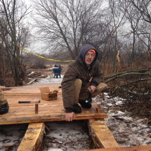 David Runstrom building SEEDS boardwalk at DY