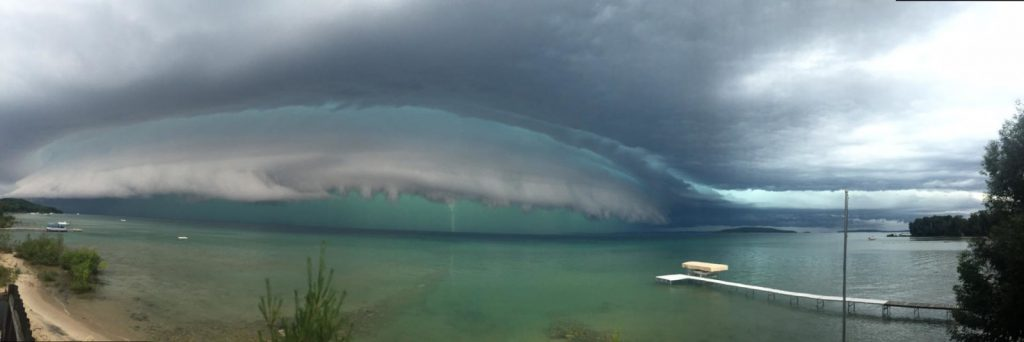 The storm front moves across Grand Traverse Bay. Photo by Tom Parrent