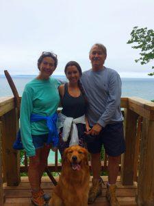 Corrine Hinsch with family and Bear on Clay Cliffs Deck